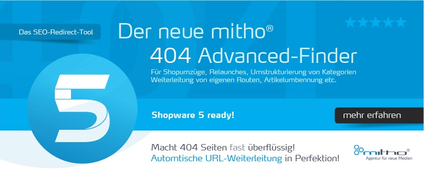 Der mitho 404 Advanced Finder ist ein intelligentes Shopware SEO Plugin